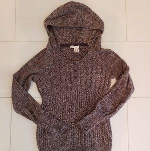 DKNY Brown Marled Hooded Sweater